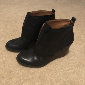"""LUCKY Black """"Yinan"""" Leather Pull-On Wedge Bootie"""